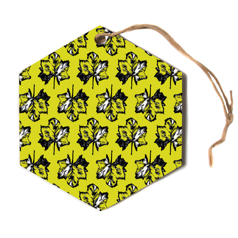 "julia grifol ""Green Tree Leaves"" Yellow Hexagon Holiday Ornament"