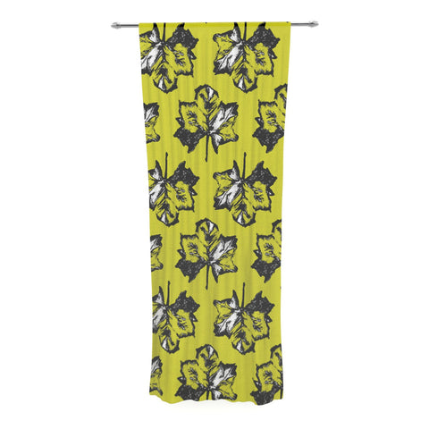 "Julia Grifol ""Green Tree Leaves"" Yellow Decorative Sheer Curtain - KESS InHouse  - 1"