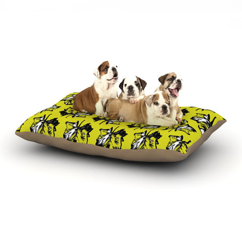 "Julia Grifol ""Green Tree Leaves"" Yellow Dog Bed - KESS InHouse  - 1"