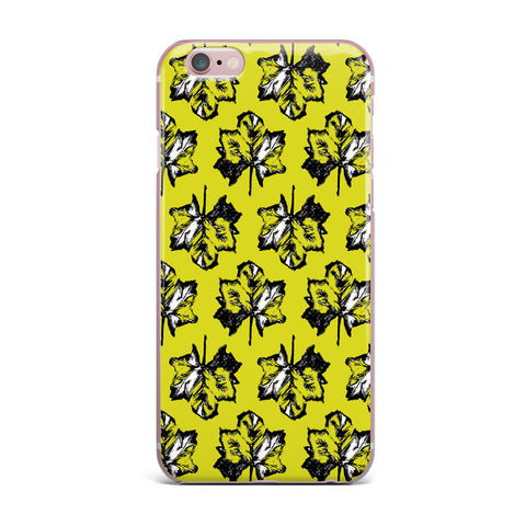 "Julia Grifol ""Green Tree Leaves"" Yellow iPhone Case - KESS InHouse"