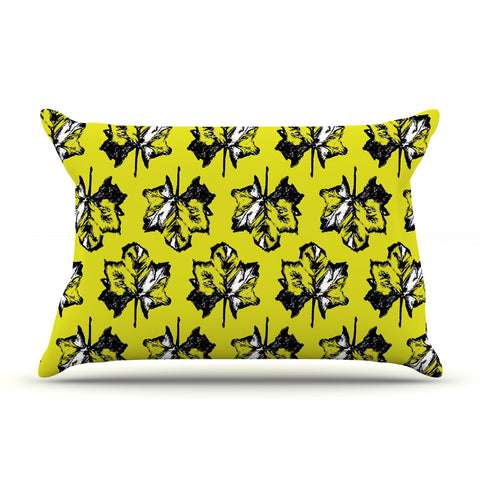 "Julia Grifol ""Green Tree Leaves"" Yellow Pillow Sham - KESS InHouse"