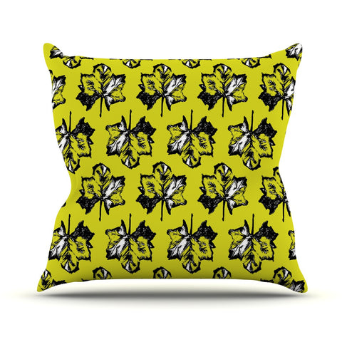"Julia Grifol ""Green Tree Leaves"" Yellow Throw Pillow - KESS InHouse  - 1"