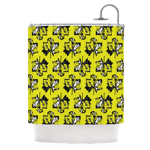 "Julia Grifol ""Green Tree Leaves"" Yellow Shower Curtain - KESS InHouse"