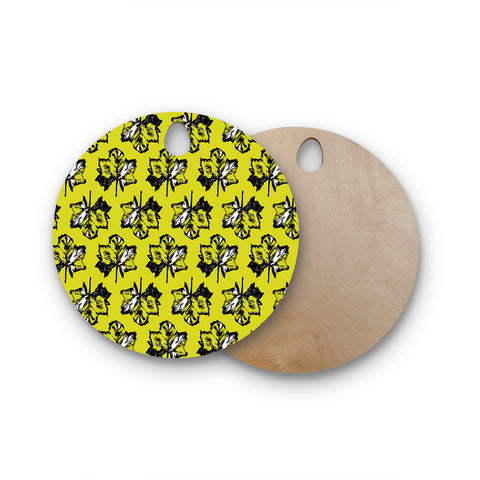 "Julia Grifol ""Green Tree Leaves"" Yellow Round Wooden Cutting Board"