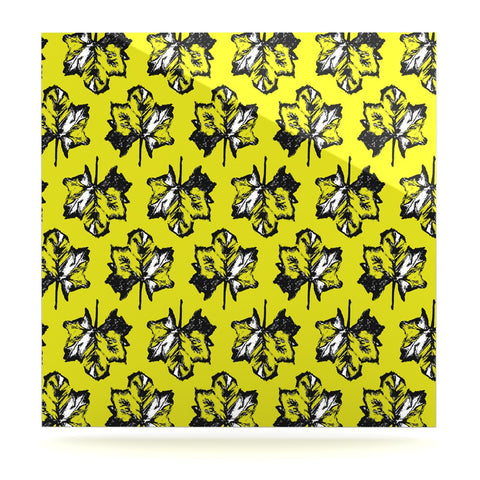 "Julia Grifol ""Green Tree Leaves"" Yellow Luxe Square Panel - KESS InHouse  - 1"