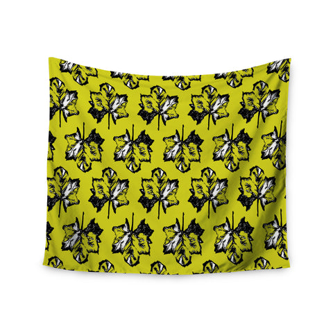 "Julia Grifol ""Green Tree Leaves"" Yellow Wall Tapestry - KESS InHouse  - 1"