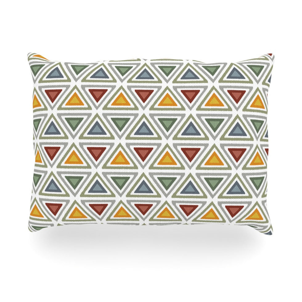 "Julia Grifol ""Ikat Triangles"" Multicolor Oblong Pillow - KESS InHouse"