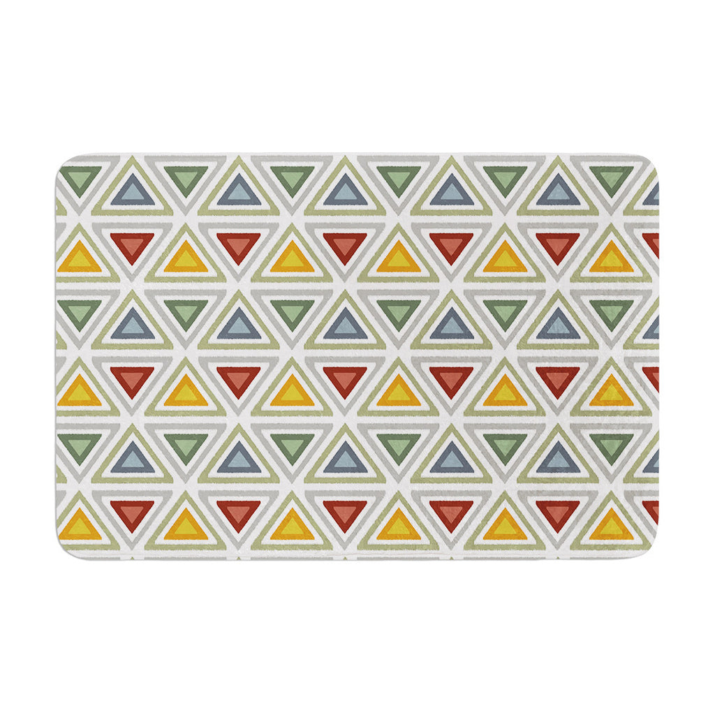 "Julia Grifol ""Ikat Triangles"" Multicolor Memory Foam Bath Mat - KESS InHouse"