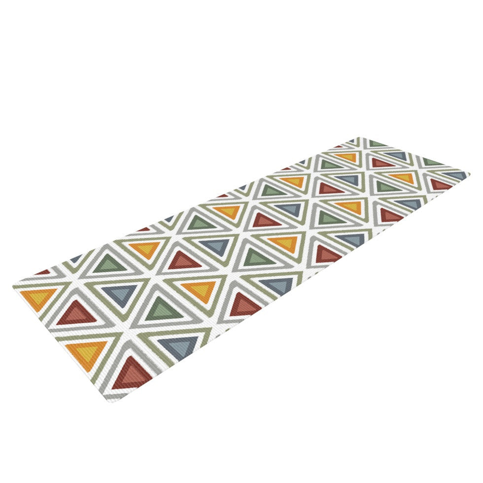 "Julia Grifol ""Ikat Triangles"" Multicolor Yoga Mat - KESS InHouse  - 1"