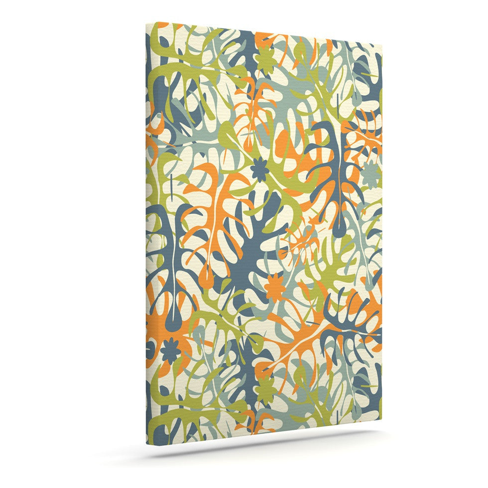 "Julia Grifol ""Summer Tropical Leaves"" Green Orange Canvas Art - KESS InHouse  - 1"