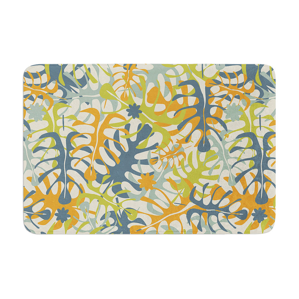 "Julia Grifol ""Summer Tropical Leaves"" Green Orange Memory Foam Bath Mat - KESS InHouse"