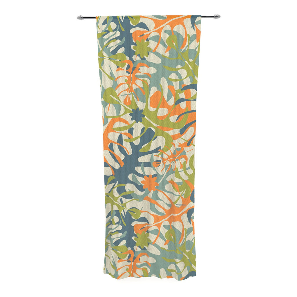 "Julia Grifol ""Summer Tropical Leaves"" Green Orange Decorative Sheer Curtain - KESS InHouse  - 1"