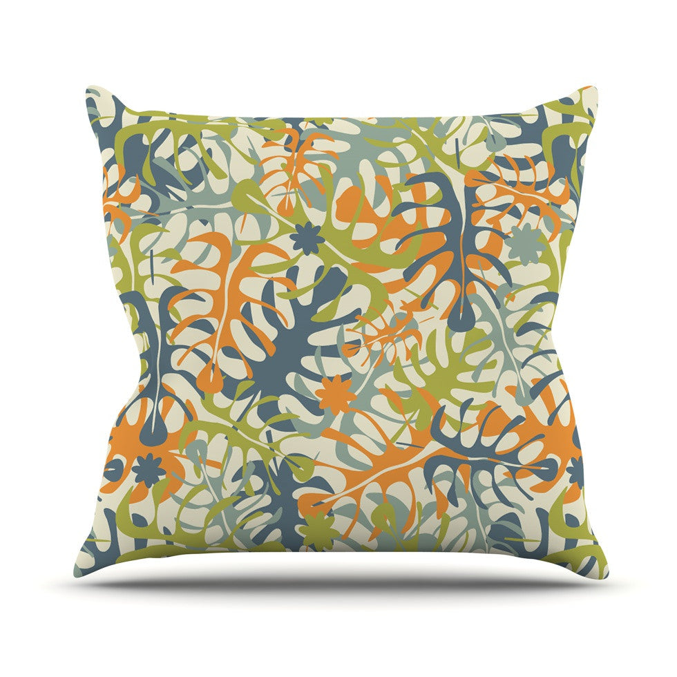 "Julia Grifol ""Summer Tropical Leaves"" Green Orange Outdoor Throw Pillow - KESS InHouse  - 1"