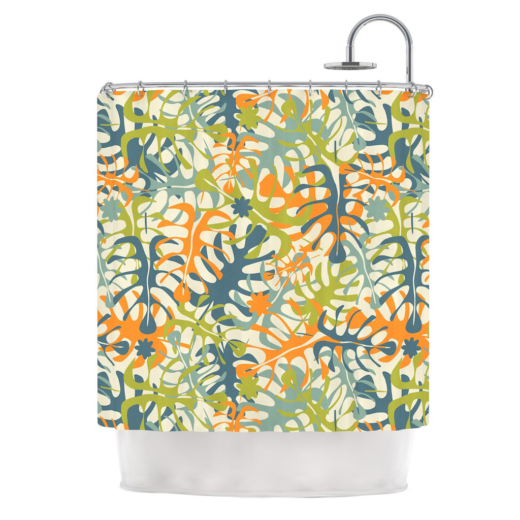 "Julia Grifol ""Summer Tropical Leaves"" Green Orange Shower Curtain - KESS InHouse"