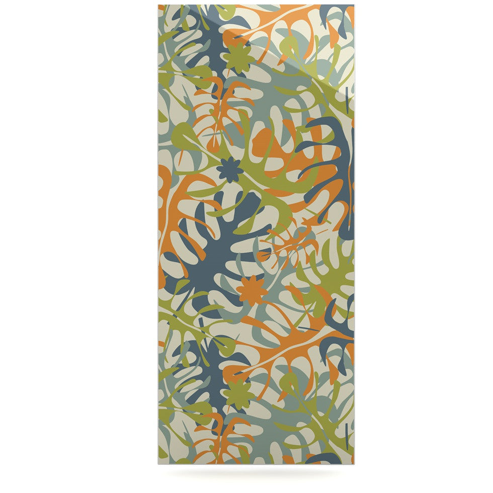 "Julia Grifol ""Summer Tropical Leaves"" Green Orange Luxe Rectangle Panel - KESS InHouse  - 1"