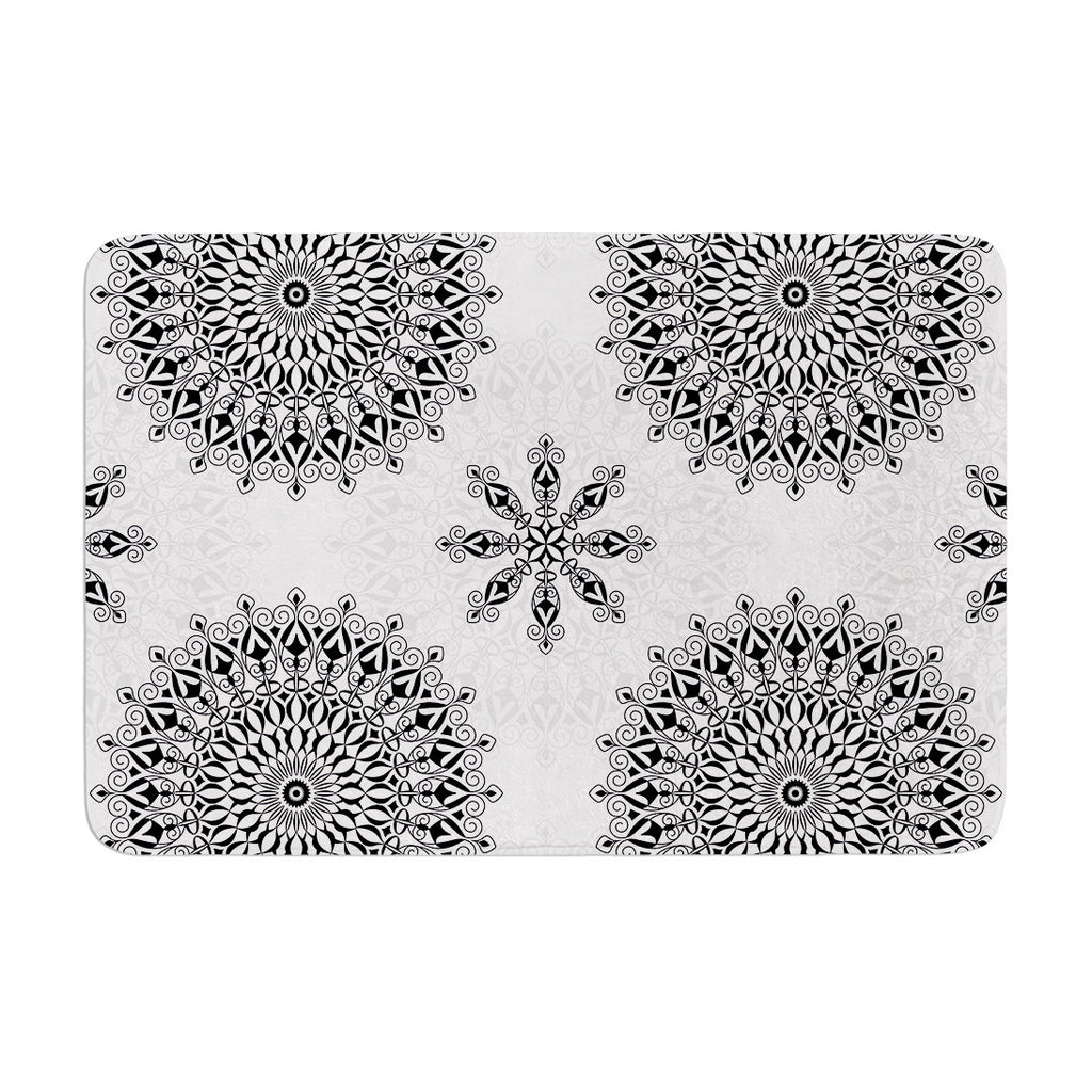 "Julia Grifol ""Black Mandala"" White Black Memory Foam Bath Mat - KESS InHouse"