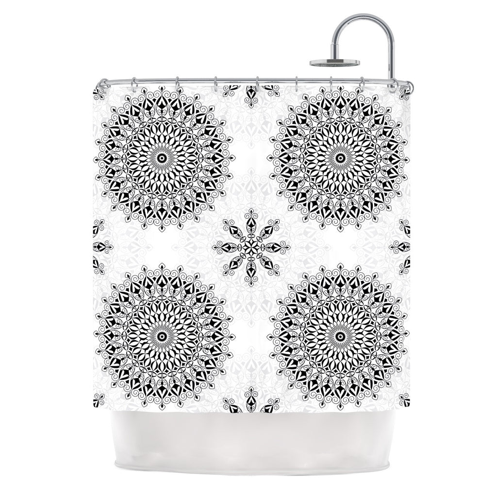 "Julia Grifol ""Black Mandala"" White Black Shower Curtain - KESS InHouse"