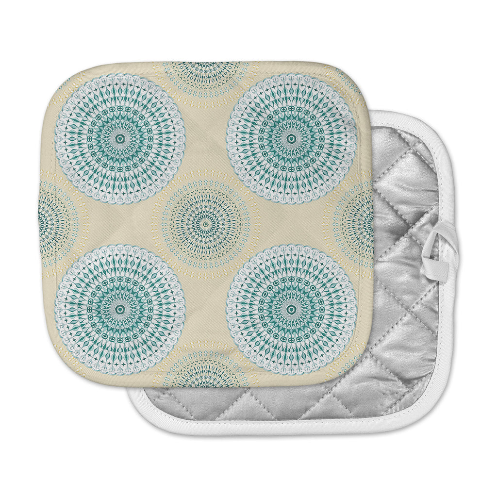 "Julia Grifol ""Soft Mandalas"" Green Yellow Pot Holder"
