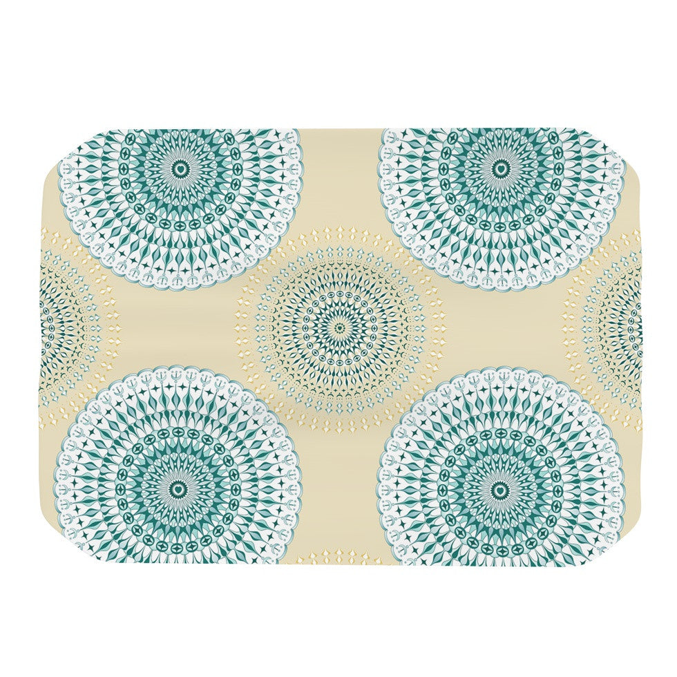 "Julia Grifol ""Soft Mandalas"" Green Yellow Place Mat - KESS InHouse"