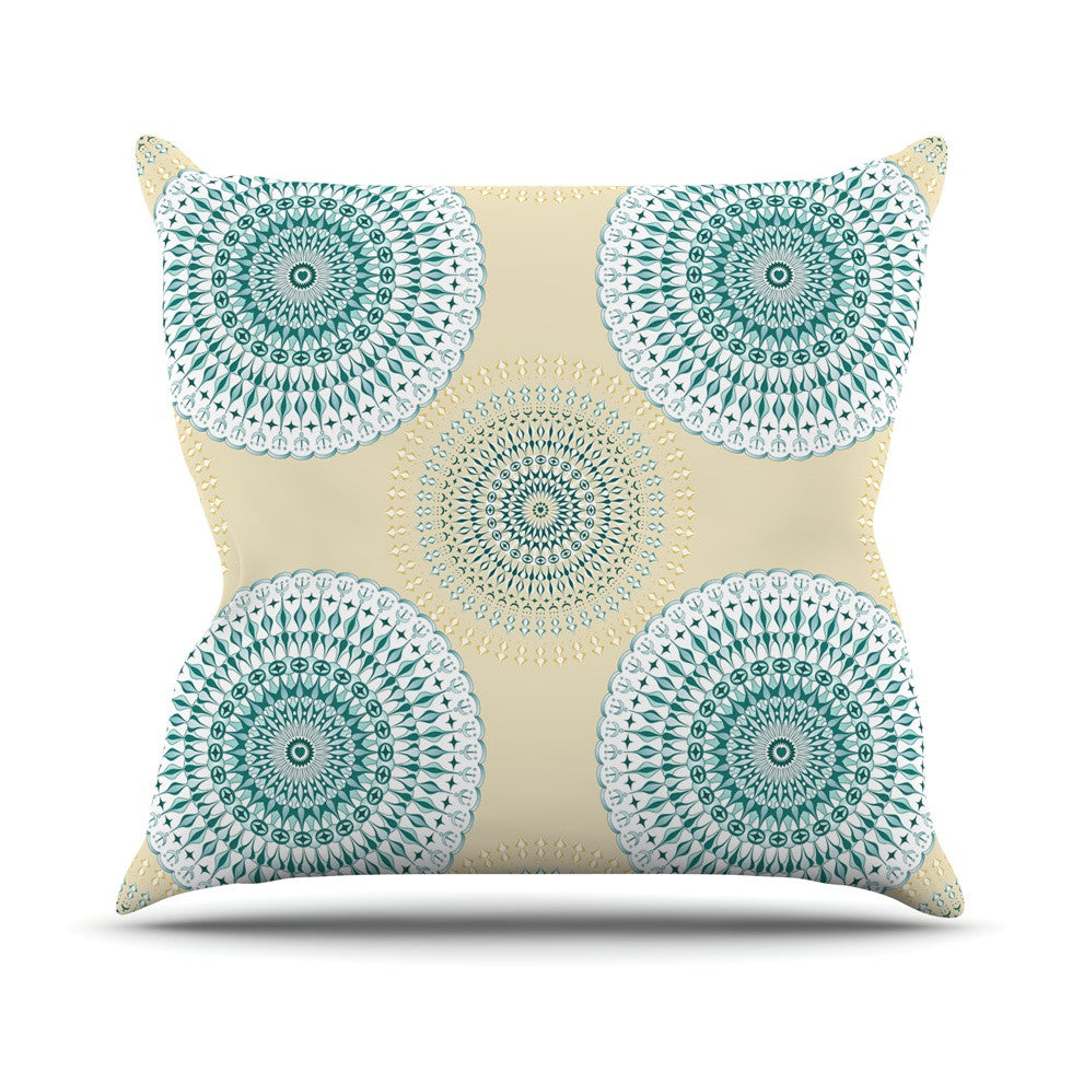 "Julia Grifol ""Soft Mandalas"" Green Yellow Outdoor Throw Pillow - KESS InHouse  - 1"
