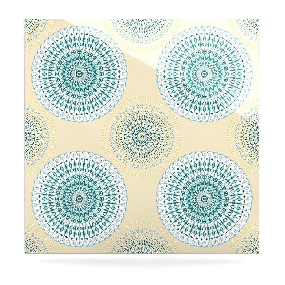 "Julia Grifol ""Soft Mandalas"" Green Yellow Luxe Square Panel - KESS InHouse  - 1"