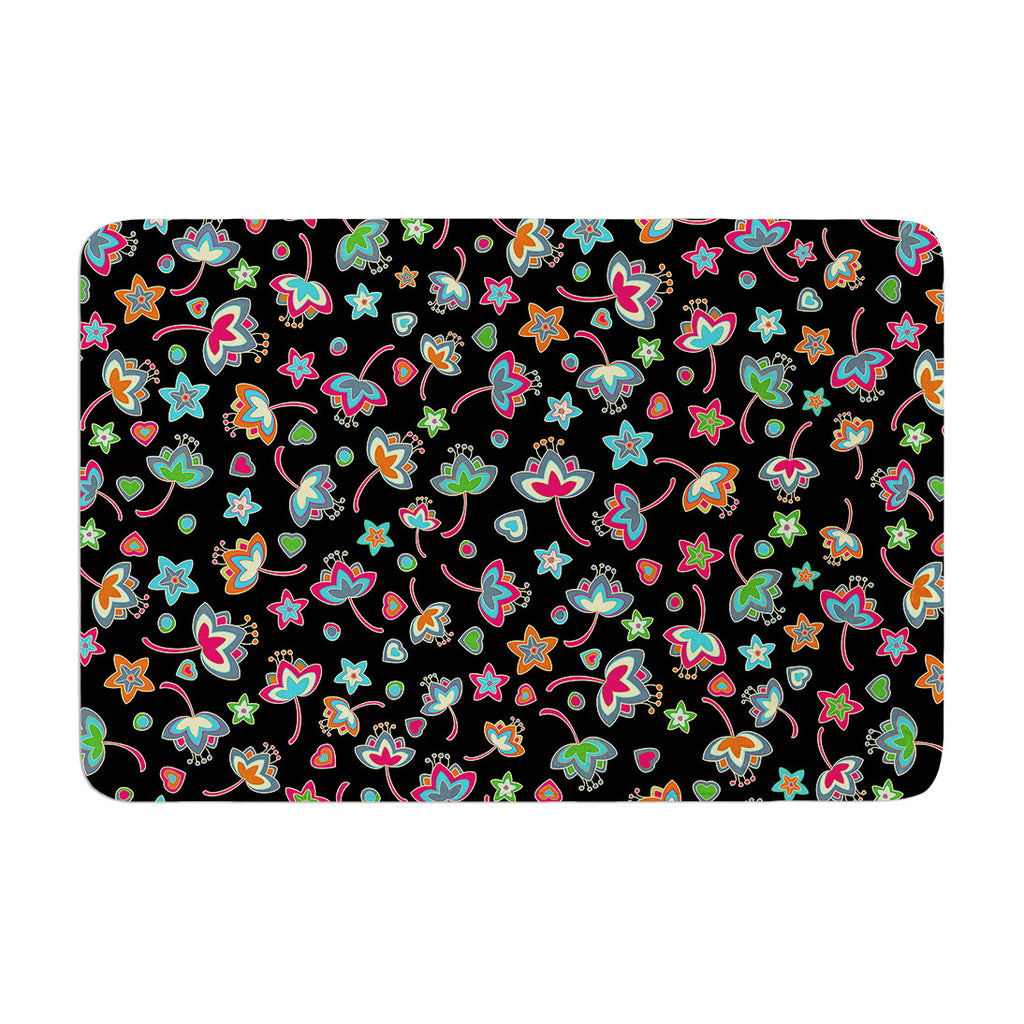 "Julia Grifol ""Sweet Flowers"" Multicolor Black Memory Foam Bath Mat - KESS InHouse"