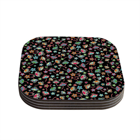 "Julia Grifol ""Sweet Flowers"" Multicolor Black Coasters (Set of 4)"