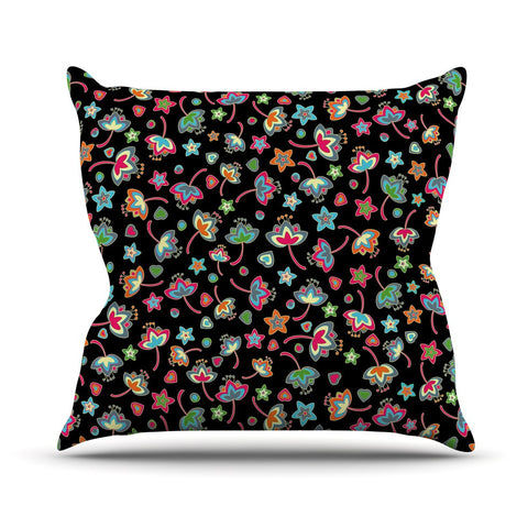 "Julia Grifol ""Sweet Flowers"" Multicolor Black Outdoor Throw Pillow - KESS InHouse  - 1"