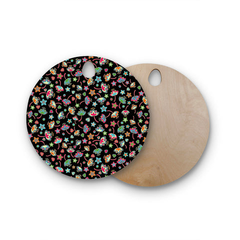 "Julia Grifol ""Sweet Flowers"" Multicolor Black Round Wooden Cutting Board"