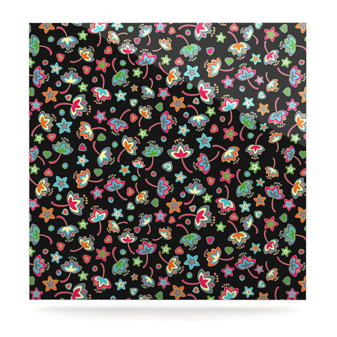 "Julia Grifol ""Sweet Flowers"" Multicolor Black Luxe Square Panel - KESS InHouse  - 1"