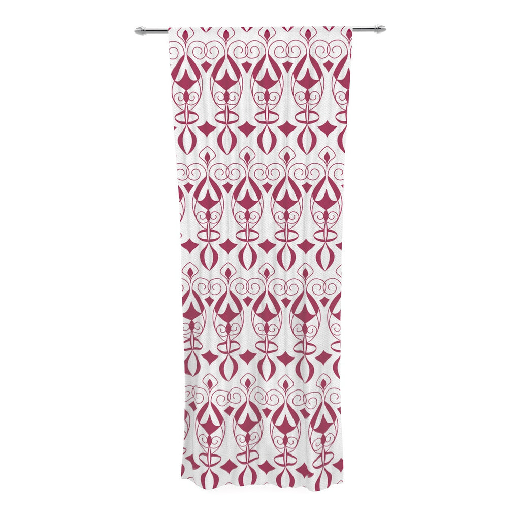 "Julia Grifol ""Warm Deco"" Pink White Decorative Sheer Curtain - KESS InHouse  - 1"