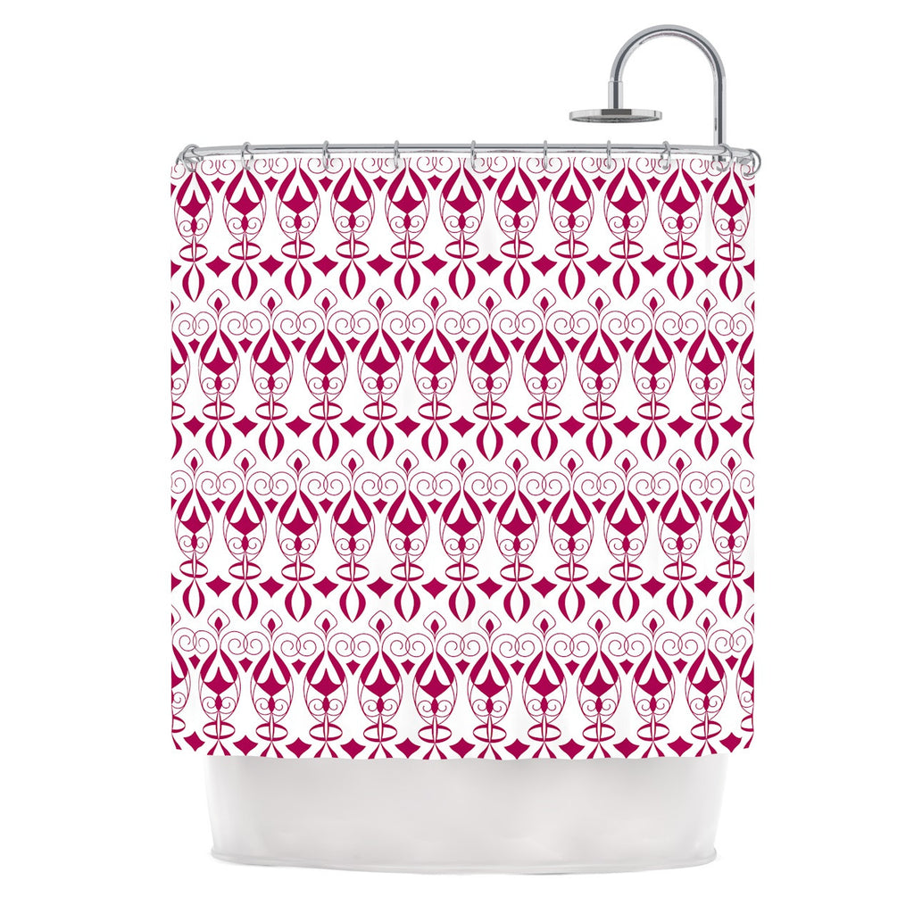 "Julia Grifol ""Warm Deco"" Pink White Shower Curtain - KESS InHouse"