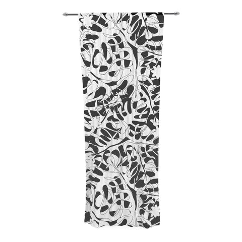 "Julia Grifol ""White Leaves"" Decorative Sheer Curtain - KESS InHouse  - 1"