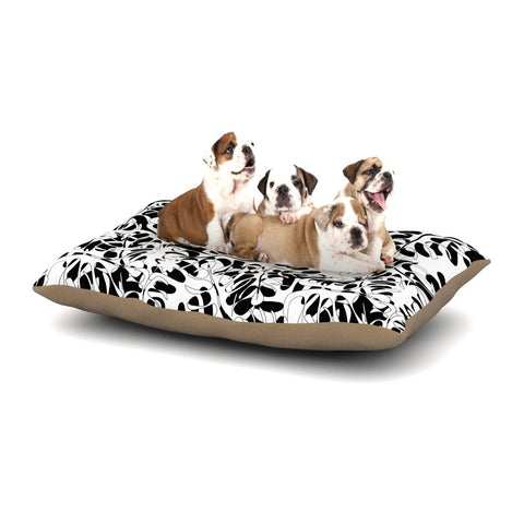 "Julia Grifol ""White Leaves"" Dog Bed - KESS InHouse  - 1"