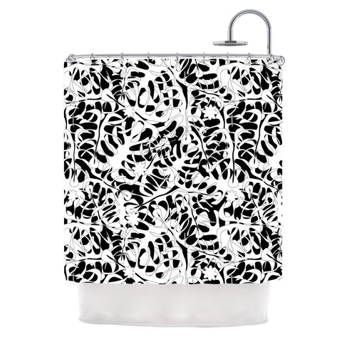 "Julia Grifol ""White Leaves"" Shower Curtain - KESS InHouse"