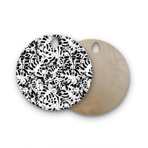 "Julia Grifol ""White Leaves"" Round Wooden Cutting Board"