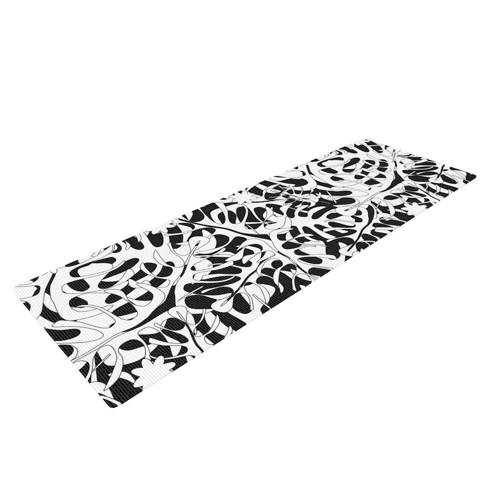 "Julia Grifol ""White Leaves"" Yoga Mat - KESS InHouse  - 1"