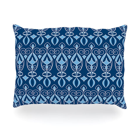 "Julia Grifol ""Blue Deco"" Aqua Pattern Oblong Pillow - KESS InHouse"