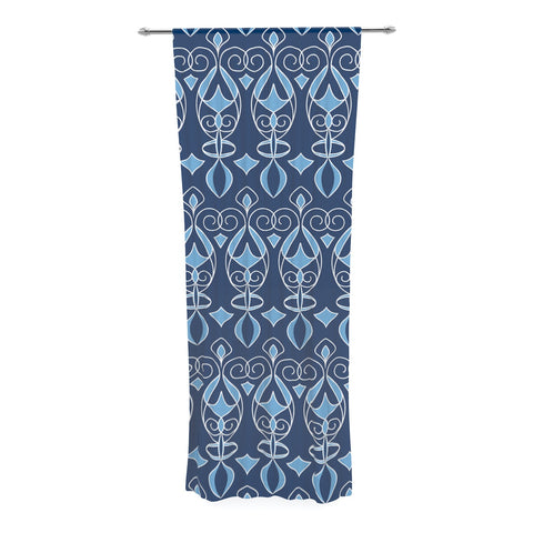 "Julia Grifol ""Blue Deco"" Aqua Pattern Decorative Sheer Curtain - KESS InHouse  - 1"