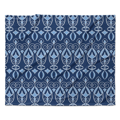 "Julia Grifol ""Blue Deco"" Aqua Pattern Fleece Throw Blanket"