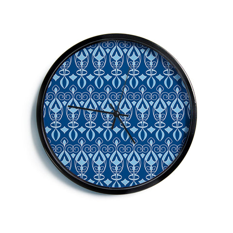 "Julia Grifol ""Blue Deco"" Aqua Pattern Modern Wall Clock"