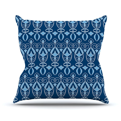 "Julia Grifol ""Blue Deco"" Aqua Pattern Outdoor Throw Pillow - KESS InHouse  - 1"