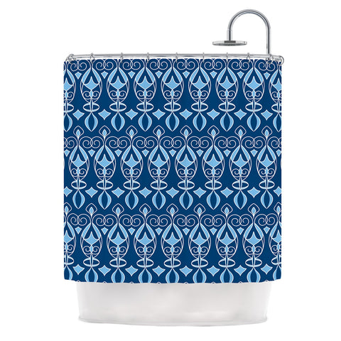"Julia Grifol ""Blue Deco"" Aqua Pattern Shower Curtain - KESS InHouse"