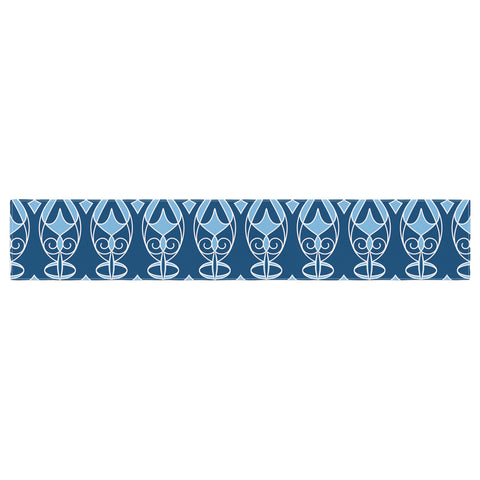 "Julia Grifol ""Blue Deco"" Aqua Pattern Table Runner - KESS InHouse  - 1"