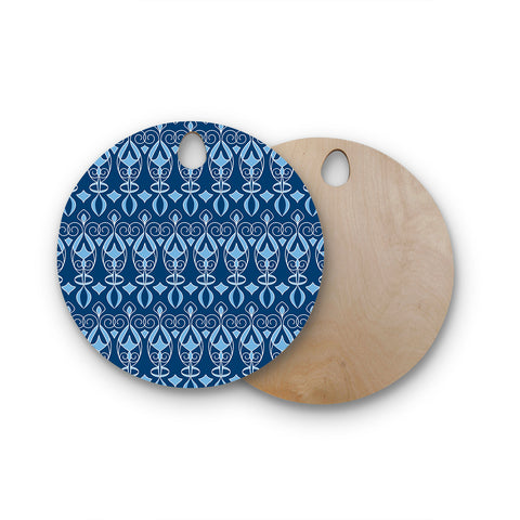 "Julia Grifol ""Blue Deco"" Aqua Pattern Round Wooden Cutting Board"
