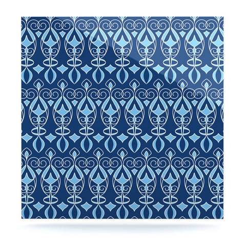 "Julia Grifol ""Blue Deco"" Aqua Pattern Luxe Square Panel - KESS InHouse  - 1"