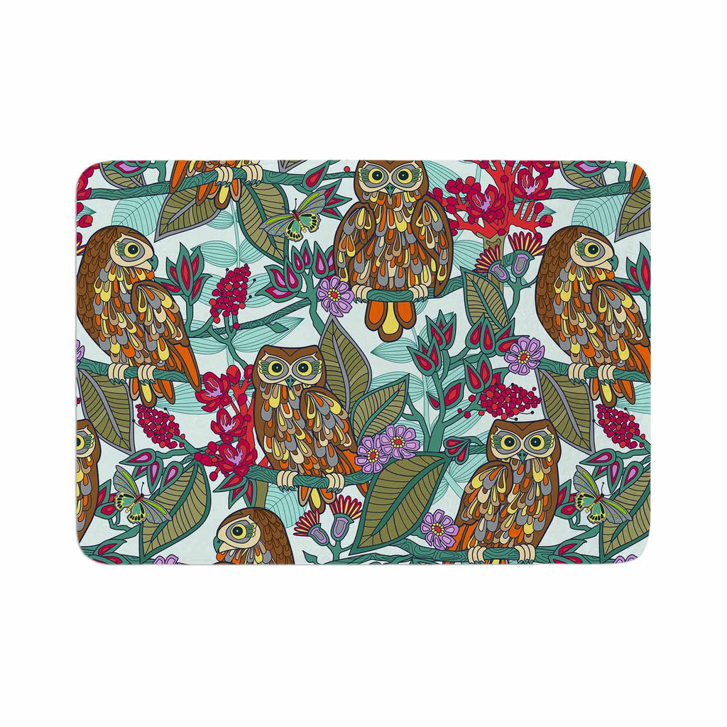 "Julia Grifol ""My Bookbooks Owls On Blue"" Brown Blue Memory Foam Bath Mat - KESS InHouse"