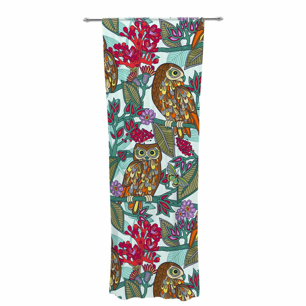 "Julia Grifol ""My Bookbooks Owls On Blue"" Brown Blue Decorative Sheer Curtain - KESS InHouse  - 1"