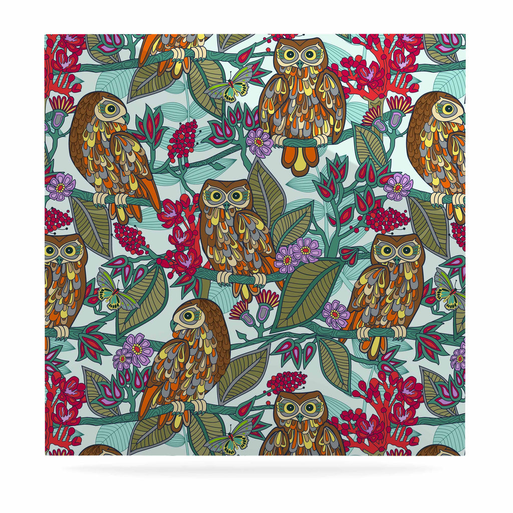 "Julia Grifol ""My Bookbooks Owls On Blue"" Brown Blue Luxe Square Panel - KESS InHouse  - 1"