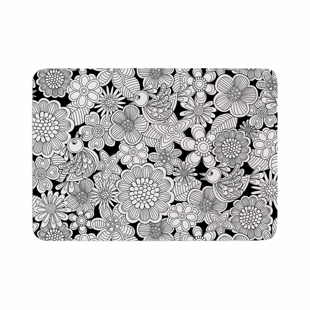 "Julia Grifol ""Welcome White Birds"" Black Floral Memory Foam Bath Mat - KESS InHouse"